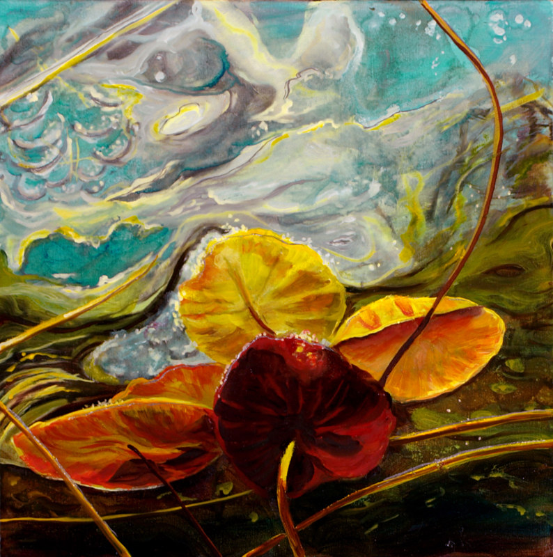 Mixed-media artwork Water lilies 40, 2015 by Sandra  Martin
