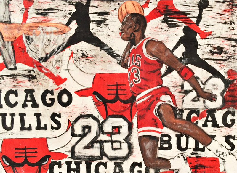 Acrylic painting Wanna be like Mike by Carly Jaye Smith