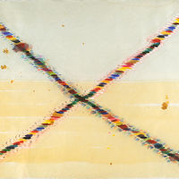 "Travel Lines: 17"" x 21"", watercolor on rice paper with cutting, 2010 by Judy Southerland"