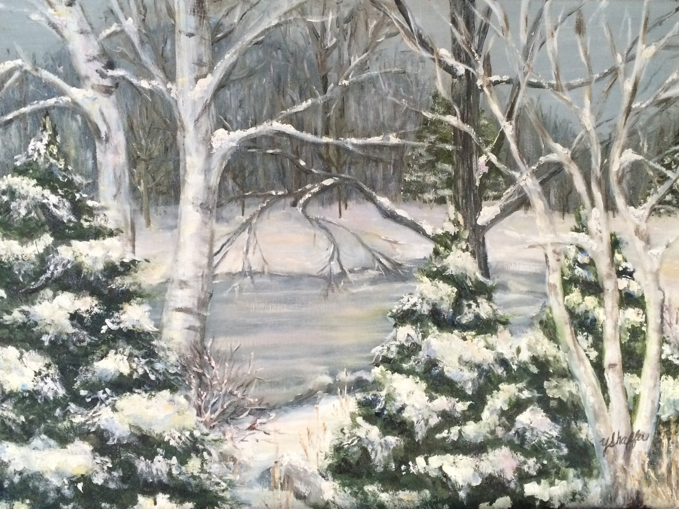 Oil painting Winter Woods by Yvonne Shaffer