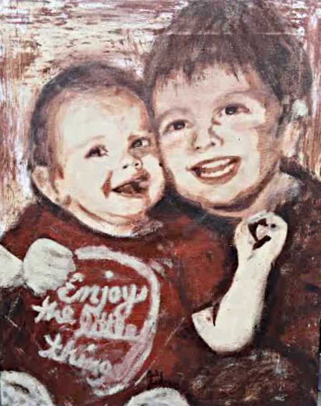 Acrylic painting Aubrey & Eastyn by Carly Jaye Smith