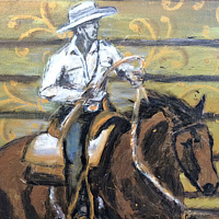 Acrylic painting Cowgirl Candis by Carly Jaye Smith