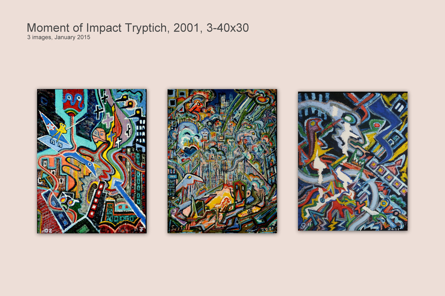 Moment of Impact Tryptich, 2001, 3-40x30 by Jeffrey Fine