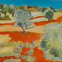 Oil painting Beside The Ghan, NT by Gwenda Branjerdporn