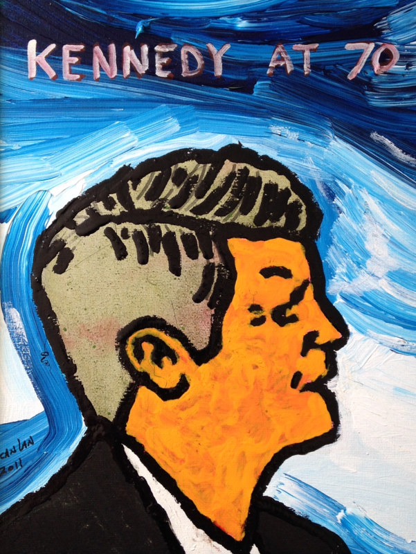 Acrylic painting Kennedy at 70 by Bernard Scanlan