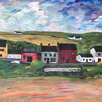 Acrylic painting Doolin Town, Ireland by Bernard Scanlan
