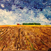 Acrylic painting Minnesota Farmscape by Bernard Scanlan