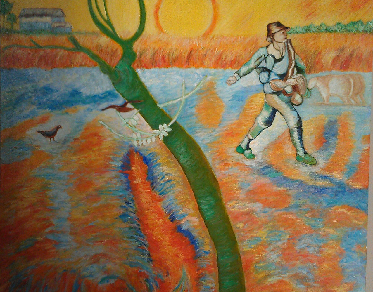 Oil painting The Sower (after Van Gogh), 2014 by Gwenda Branjerdporn