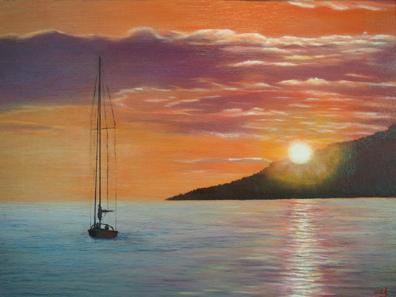 Oil painting Coming Home English Bay by Brent Ciccone