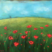 Acrylic painting Dancing Poppies by Sally Adams
