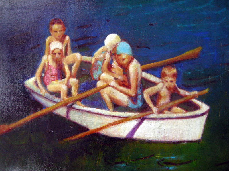 Oil painting Boat Ride, 2006 by Edith dora Rey