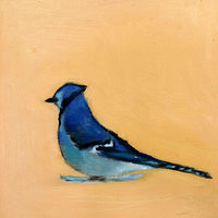 Oil painting February Bluejay, 2015 by Edith dora Rey