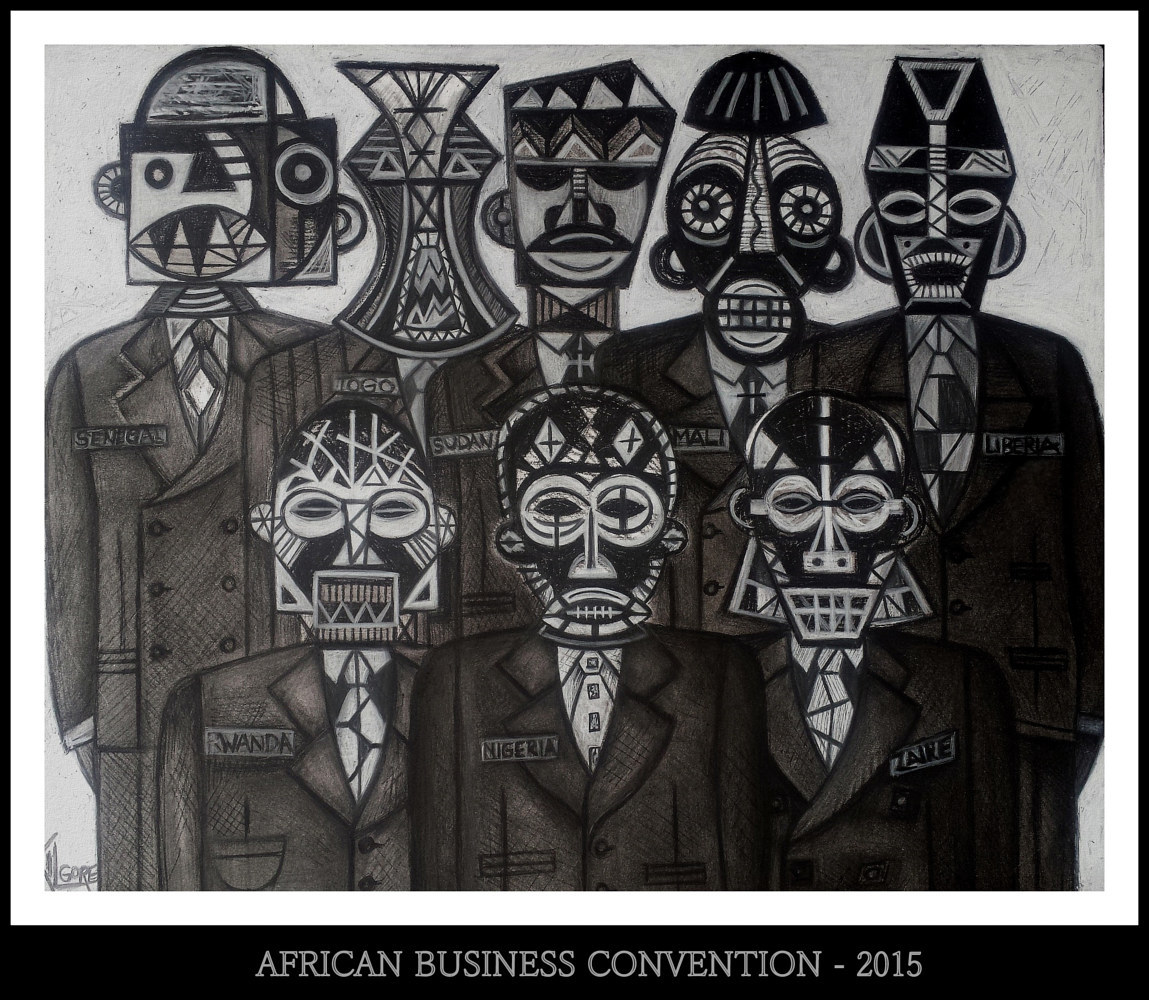 Mixed-media artwork AFRICAN BUSINESS CONVENTION - 2015 by Michael Kilgore