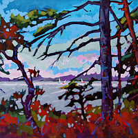 Accross the Bay   Acrylic 20x30 2014  by Brian  Buckrell