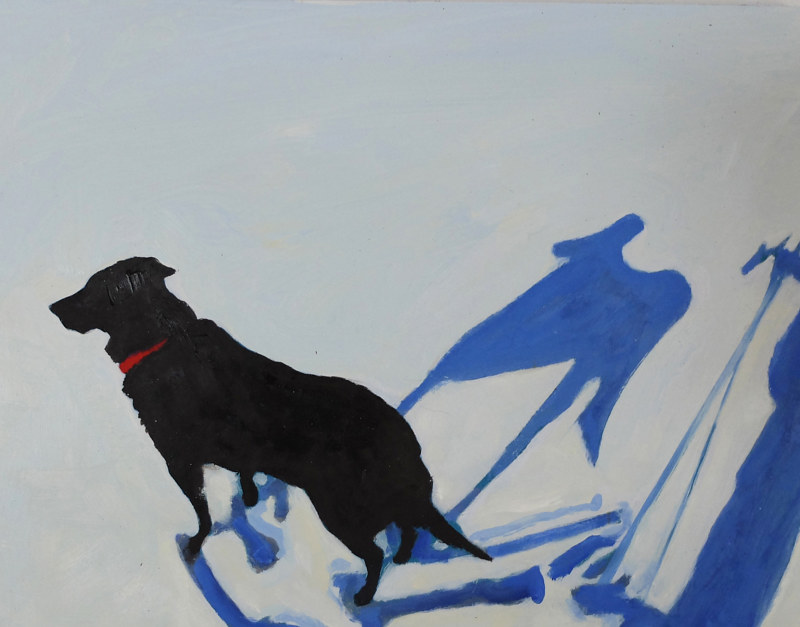 Oil painting Snow travels with Angus I, 2015 by Edith dora Rey