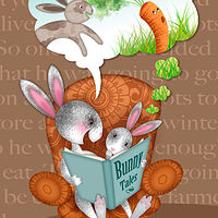 Bunnies Reading by Valerie Lesiak