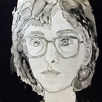 Drawing Self-Portrait Monotype by Michele Barnes