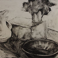 Drawing Vase, Bowel and Plant Monotype by Michele Barnes