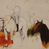 Oil painting horse and horse head  by Madeline Shea