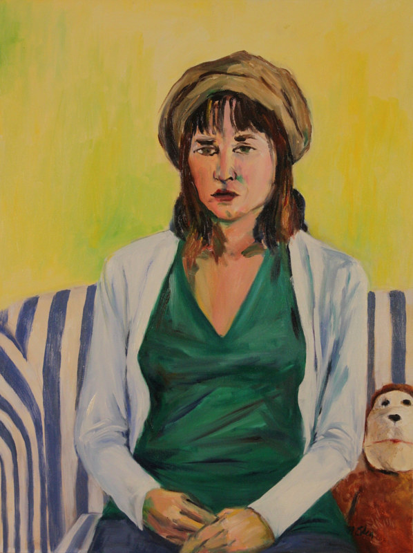Oil painting girl with toy monkey by Madeline Shea