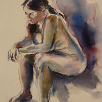 Watercolor blue nude by Madeline Shea