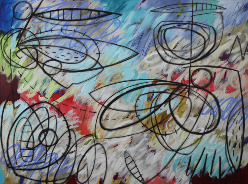 Acrylic painting Addison Paige #118 Of White Sky And Flying Contraptions by Addison Paige