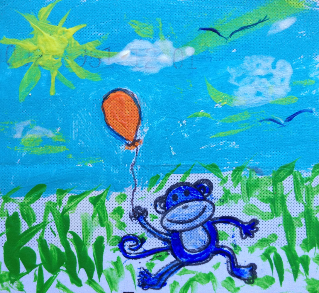 Acrylic painting Blue Monkey (a.k.a. Self Portrait) by Steven Simmons