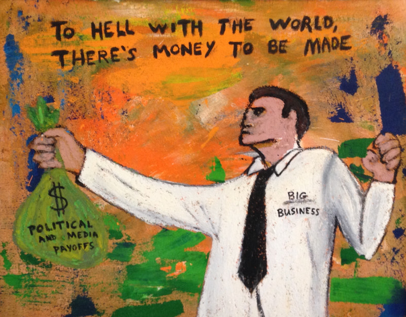 Oil painting Politics and Money by Bernard Scanlan