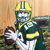Acrylic painting Aaron Rodgers by Carly Jaye Smith