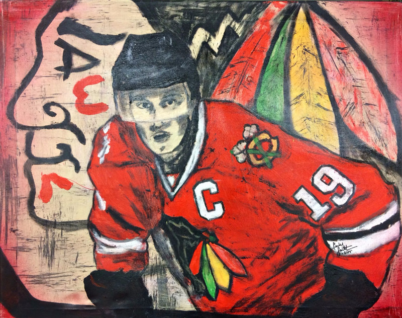 Acrylic painting Jonathon Toews by Carly Jaye Smith