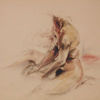 Watercolor seated nude by Madeline Shea