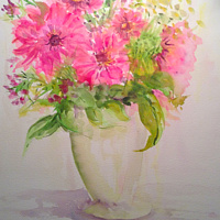 Watercolor Gerbera Daisies - Spring yumminess in a pink daisy! by Karen Brodeur