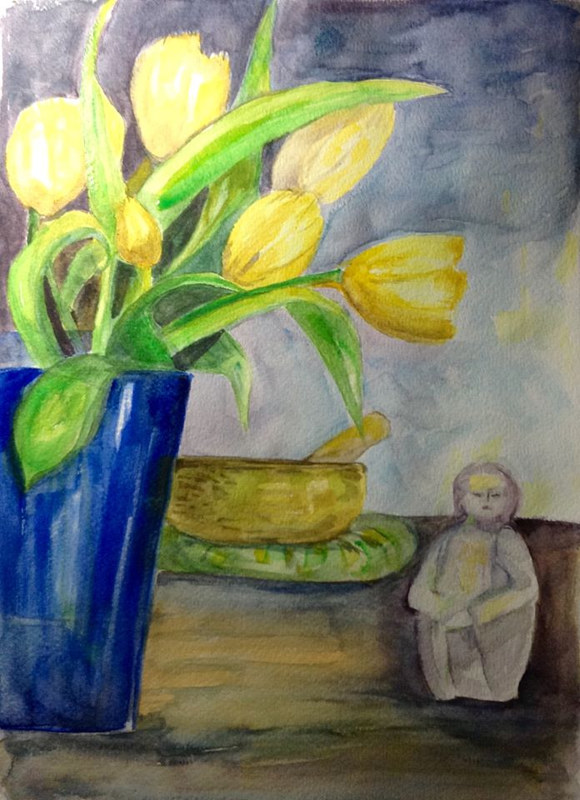 Watercolor Yellow Tulips and Blue Vase - Spring promises in a vase in spite of winter's gloom. by Karen Brodeur
