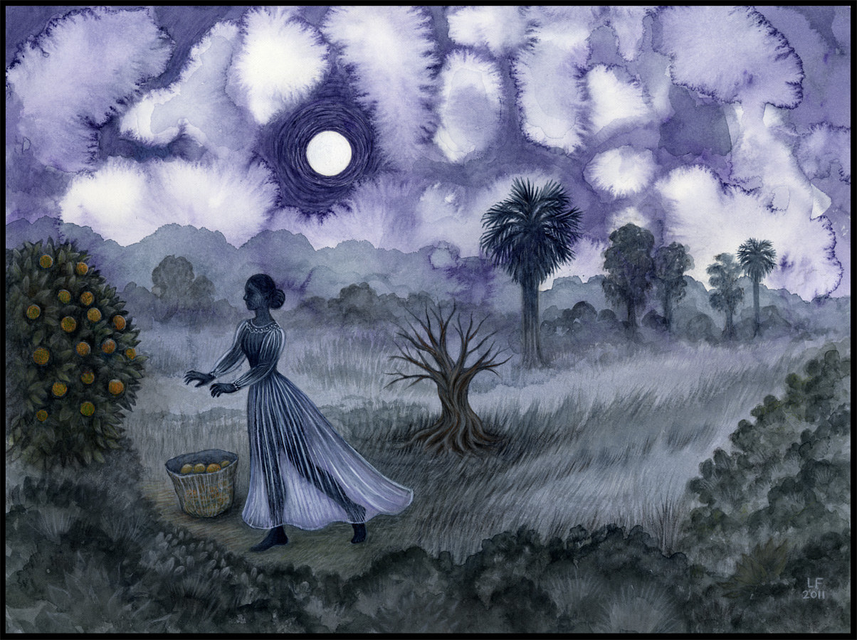 Night Harvest, watercolor & gouache, 12x16 in, ©2011 Laurey Foulkes by Laurey  Foulkes