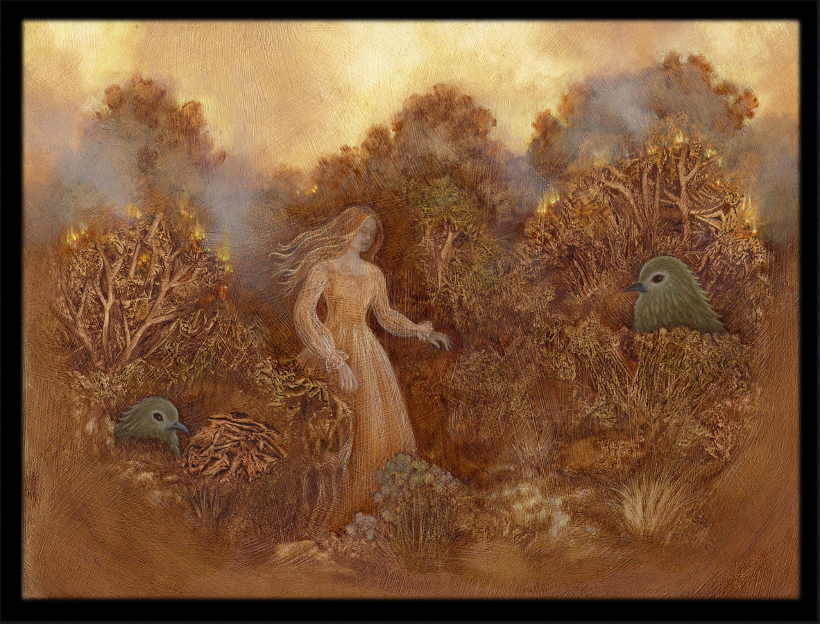 Through the Fleeting Woods, oil on masonite, 9 x 12 in, ©2012 Laurey Foulkes by Laurey  Foulkes