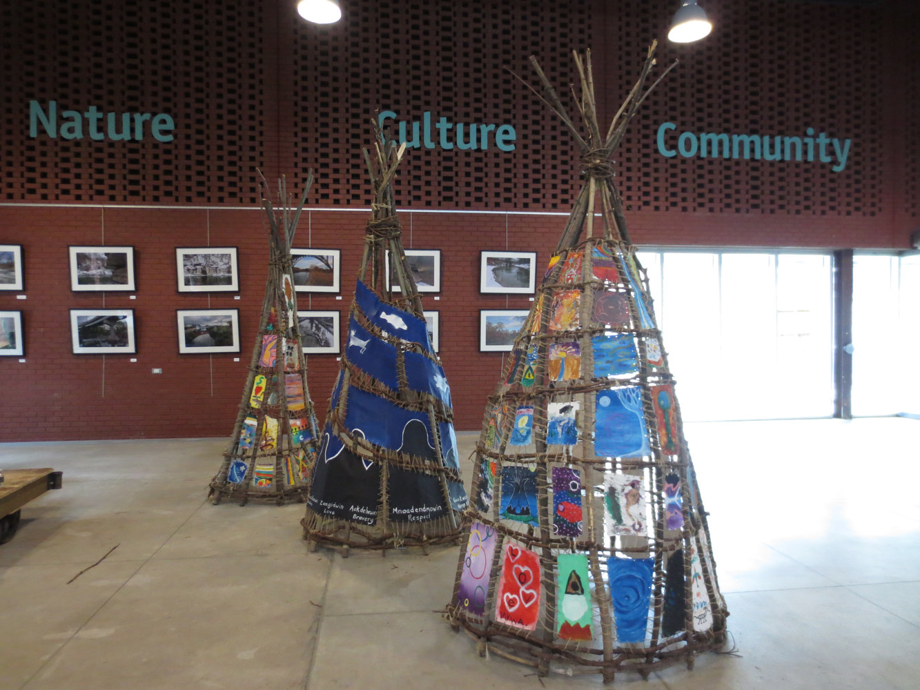 Painting Tipi Teaching Project , Wisdom, Weaving and Stories - Exhibit at Evergreen Brickworks by Pamela Schuller