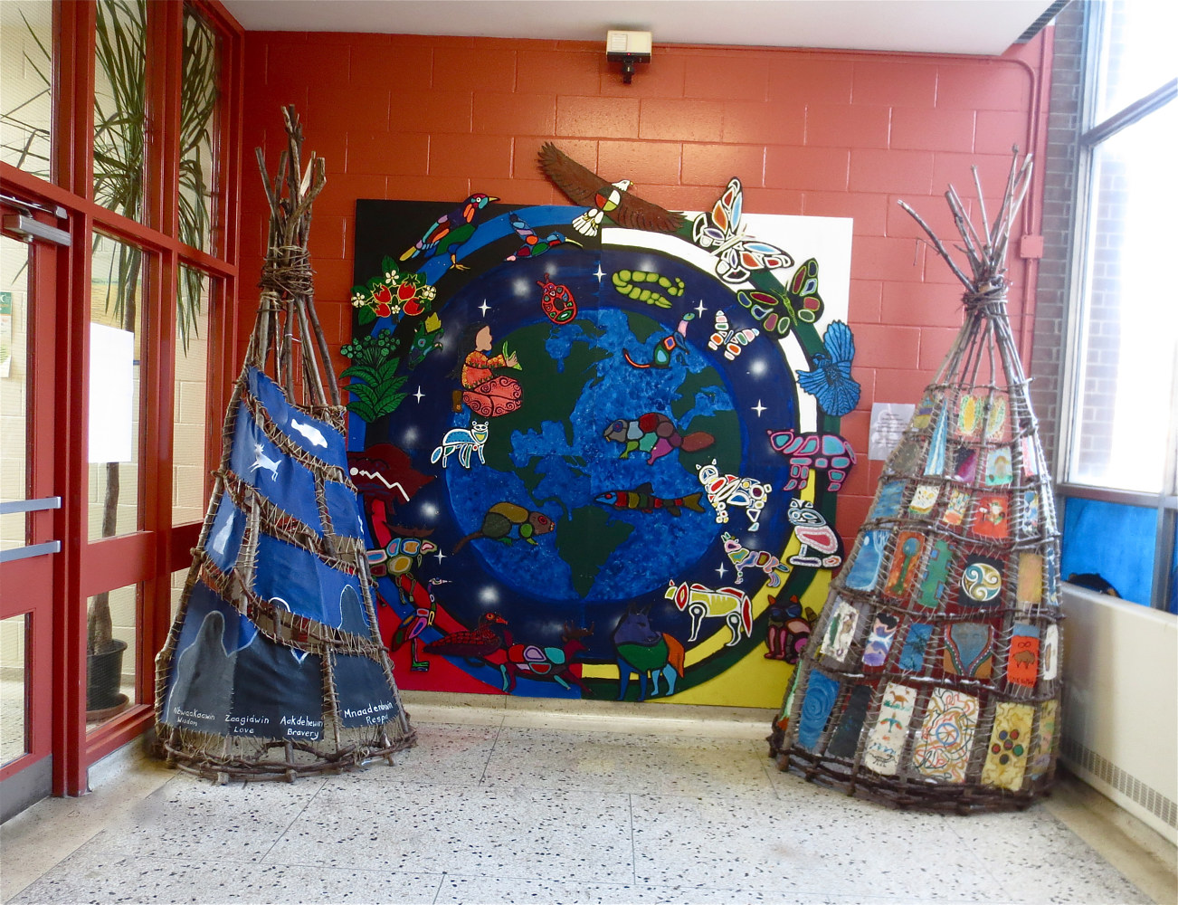 Tipi Teaching Project - Wisdom, Weaving and Stories - Display at First Nations School of Toronto by Pamela Schuller