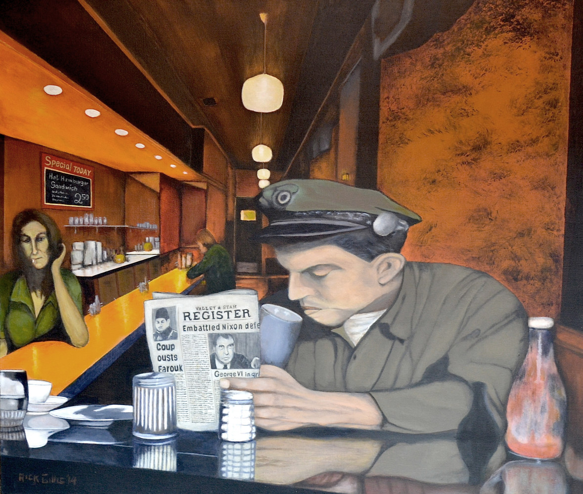 Acrylic painting Pie & Coffee by Rick Gillis