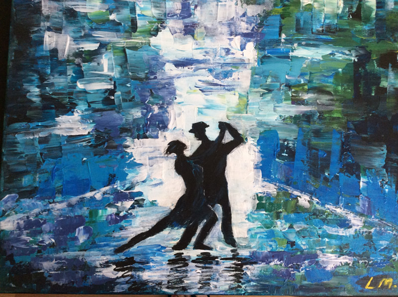 Acrylic painting The Dance by Laura Munteanu