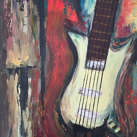 Acrylic painting Spanish Guitar by Laura Munteanu