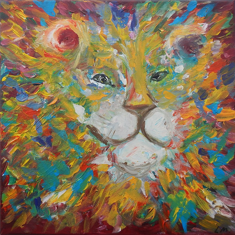 Acrylic painting The King by Laura Munteanu