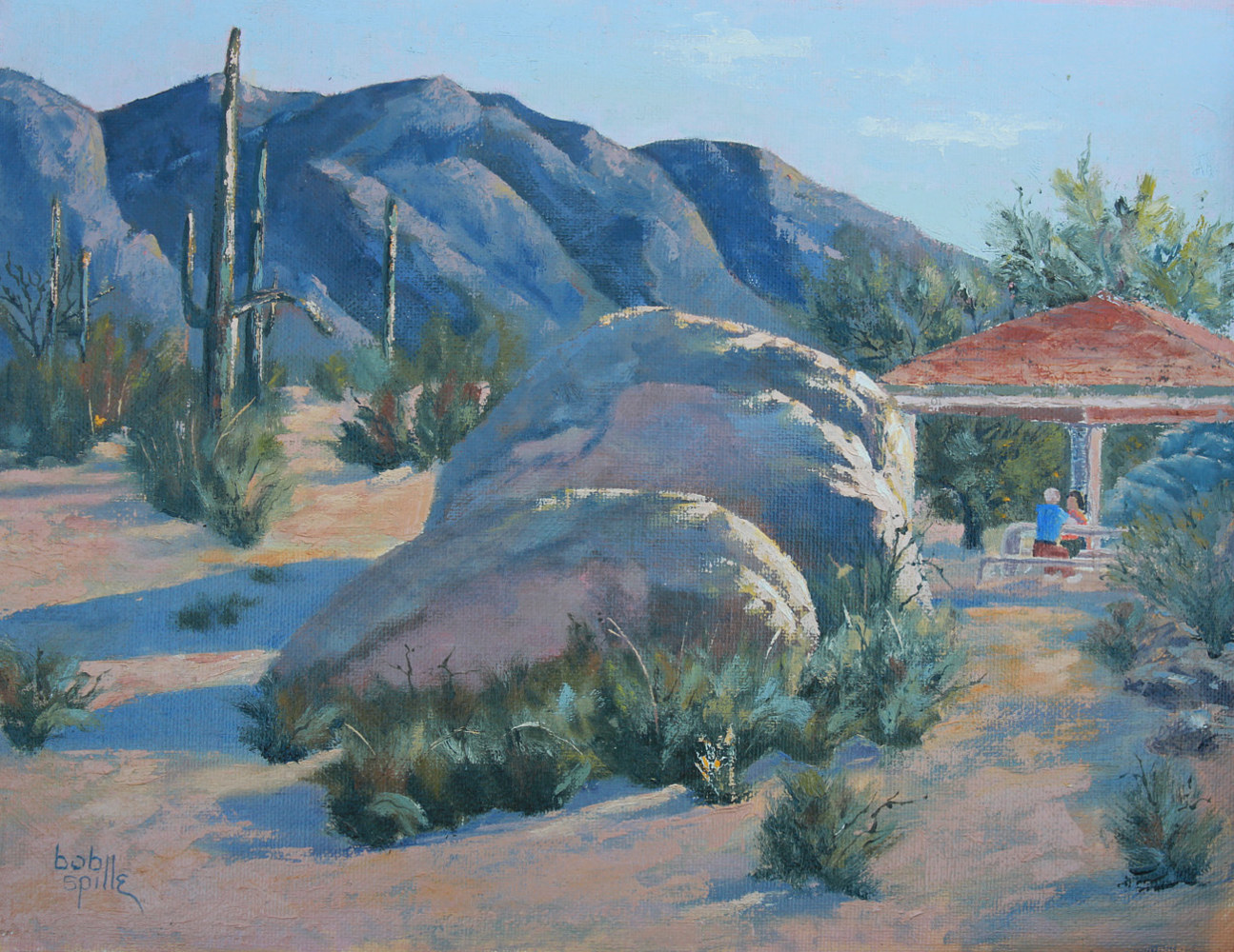 Oil painting Breakfast at North Mountain Park by Bob Spille