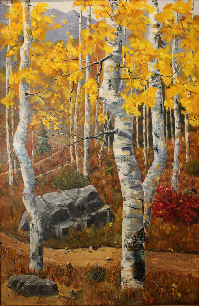Oil painting Vail Pass Aspens by Bob Spille