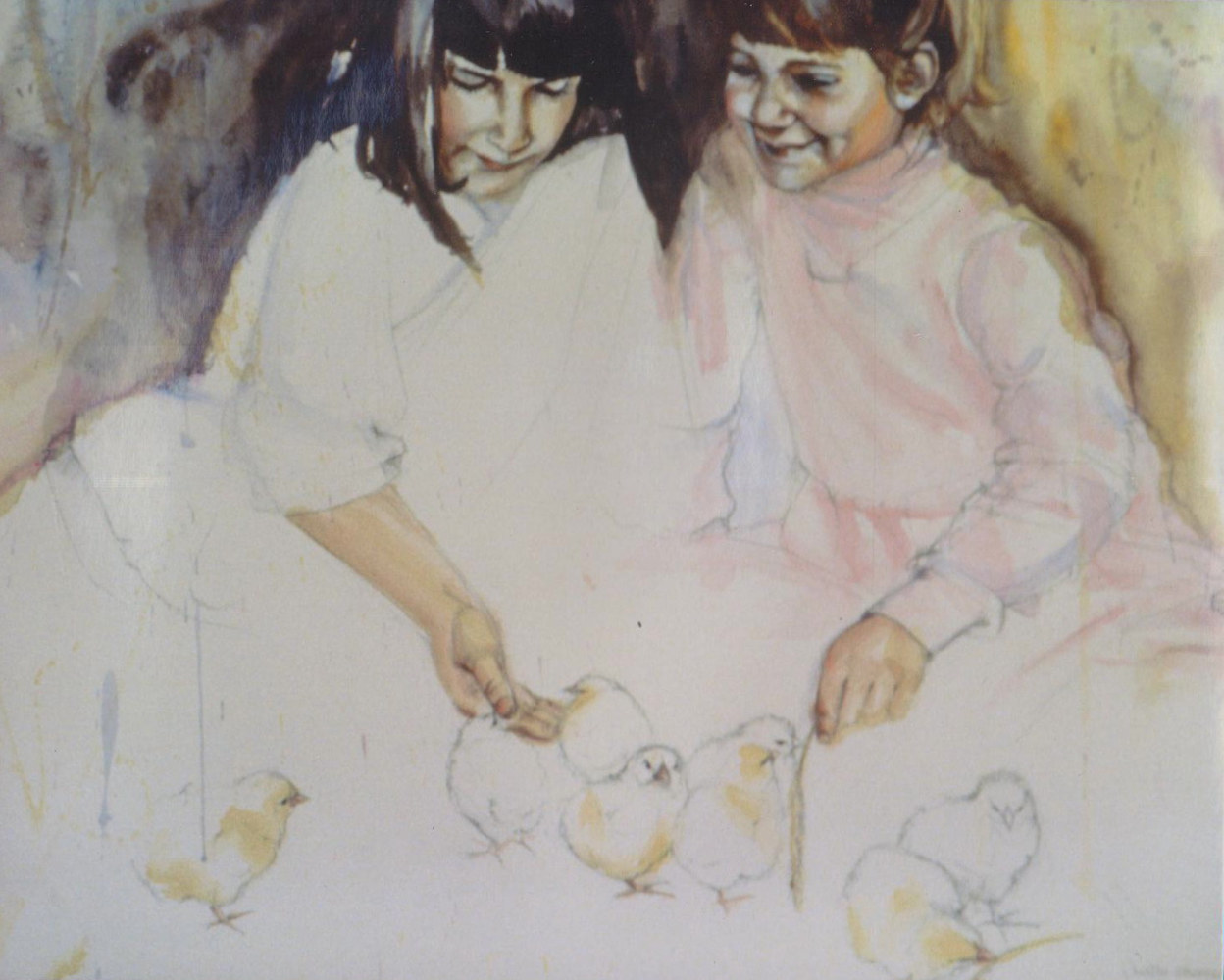 Acrylic painting Glenda and Alice Pearce with little chicks by Judith  Elsasser