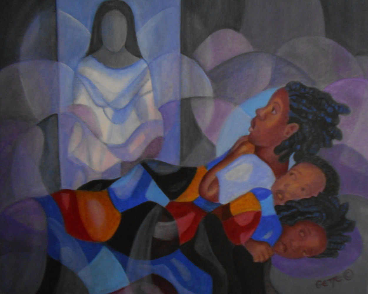 Acrylic painting THREE CHILDREN AND A GHOST by Georgette  Jones