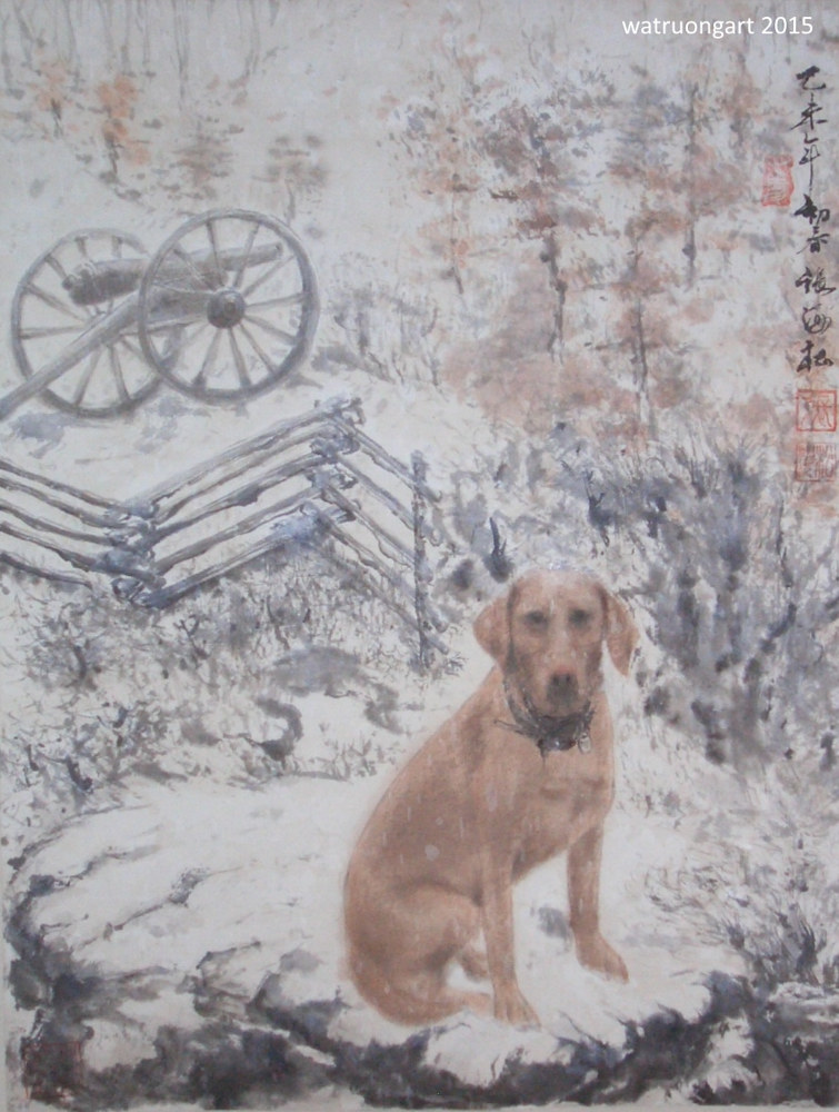 Dog on Farm in Winter by Dat Truong