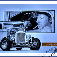 Portrait of Paul Le Mat and the Deuce Coupe by Dave Wishart