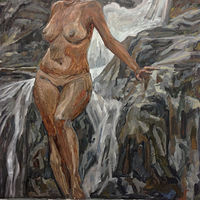 Oil painting Injured Bather by Edward Miller