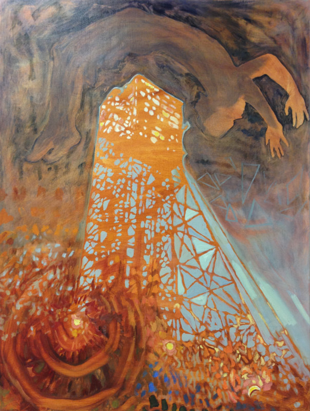 Oil painting Elevator Backflip by Edward Miller