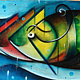 Acrylic painting Fish on a oar by Bruno Hernani